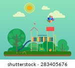 playground in summer park  ... | Shutterstock .eps vector #283405676