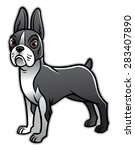 cute boston terrier dog | Shutterstock .eps vector #283407890