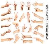 collage of  hands showing... | Shutterstock . vector #283410236