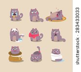 Stock vector cats in different situations emotions vector illustration 283433033