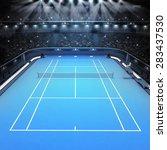blue hard surface tennis court...   Shutterstock . vector #283437530