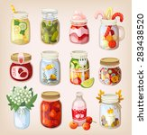 variety of mason jars with... | Shutterstock .eps vector #283438520