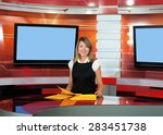 a pregnant television...   Shutterstock . vector #283451738