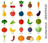 colorful flat fruits and... | Shutterstock .eps vector #283459433