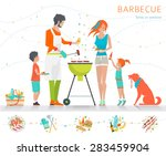 family on weekend. barbecue... | Shutterstock .eps vector #283459904