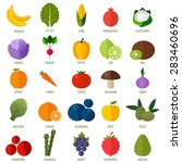 colorful flat fruits and... | Shutterstock .eps vector #283460696