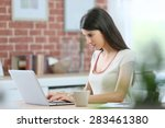 young brunette woman connected... | Shutterstock . vector #283461380