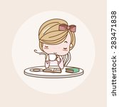 afternoon tea  relaxing ... | Shutterstock .eps vector #283471838