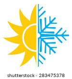 heating cooling icon. vector illustration; air conditioning icon - summer winter heating cooling