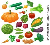 vegetables icons set with... | Shutterstock .eps vector #283476398