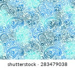vector seamless gentle gradient paisley print with flowers and dots