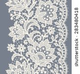 Lace Ribbon Vertical Seamless Pattern.