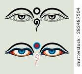 """eyes of buddha   """"buddha's eyes""""...   Shutterstock .eps vector #283487504"""