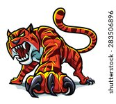 Stock vector this aggressive tiger can be used as a mascot 283506896