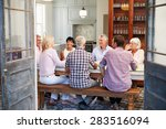 group of friends enjoying meal... | Shutterstock . vector #283516094