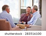 senior father with adult son... | Shutterstock . vector #283516100
