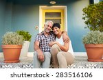 mature couple sitting on steps... | Shutterstock . vector #283516106