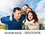 family  cheerful  child. | Shutterstock . vector #283531838