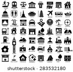 map symbol icon set  place of... | Shutterstock .eps vector #283532180
