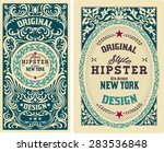 vector. old cards with floral... | Shutterstock .eps vector #283536848