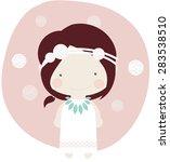 red indian girl vector flower   Shutterstock .eps vector #283538510