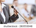 businesswoman standing on stage ... | Shutterstock . vector #283553048