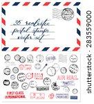postal stamps vector set | Shutterstock .eps vector #283559000