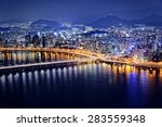 seoul tower and downtown... | Shutterstock . vector #283559348