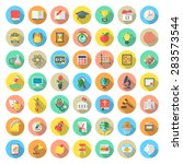 set of modern flat round icons... | Shutterstock . vector #283573544
