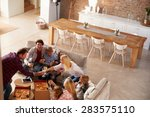 two families spending time... | Shutterstock . vector #283575110