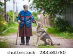 elderly woman with a dog in... | Shutterstock . vector #283580780