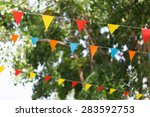 Colorful Triangular Flags Of...