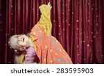 Young Blond Girl Wearing Clown...
