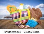 vacations  summer  beach bag. | Shutterstock . vector #283596386