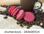 pink macarons and a coffee mug...   Shutterstock . vector #283600514