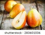 fresh ripe organic pears on a...   Shutterstock . vector #283601036