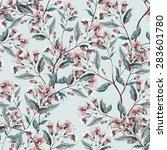 weigelas flower seamless pattern | Shutterstock . vector #283601780