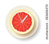 half of fresh juicy grapefruit... | Shutterstock .eps vector #283606370