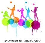 volleyball woman player vector... | Shutterstock .eps vector #283607390