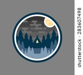 round woods badge night camp... | Shutterstock .eps vector #283607498