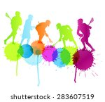 lacrosse player in action...   Shutterstock .eps vector #283607519