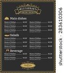 elegant restaurant menu... | Shutterstock .eps vector #283610306