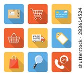 flat shopping icons with long...