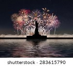 statue of liberty on the... | Shutterstock . vector #283615790