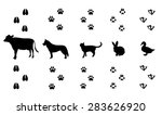 vector set of walking farm... | Shutterstock .eps vector #283626920