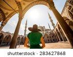 young woman traveler in black... | Shutterstock . vector #283627868
