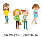pupils boy and girls  | Shutterstock .eps vector #283628216