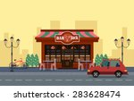 outside view of cafe. car and... | Shutterstock .eps vector #283628474