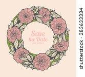 wreath of roses  peonies.... | Shutterstock .eps vector #283633334