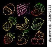 neon line art colorful fruit... | Shutterstock .eps vector #283641338